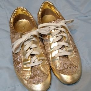 Coach Leatherware Gold Reese Sneakers 7.5